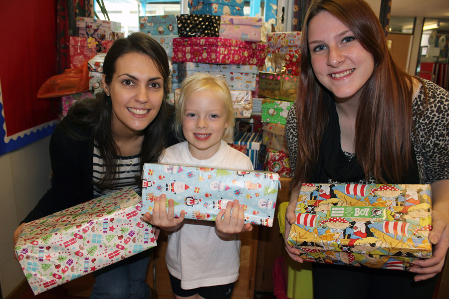 Christmas shoe boxes Michelle, Isabella and Alexandra