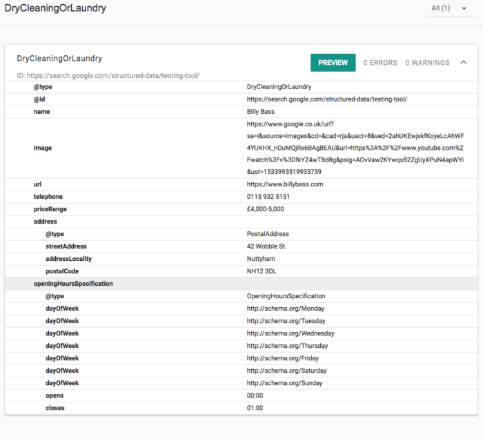 Structured Data Testing Tool Example